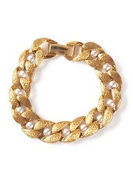 Rewind Vintage Affairs Chunky Faux Pearl Embellished Bracelet Metallic