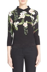 Women's Ted Baker London 'Nellia' Floral Print Cotton Pullover Black