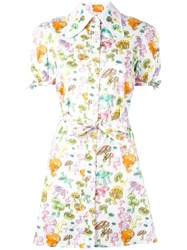 Olympia Le Tan Mushroom Print Shirt Dress White