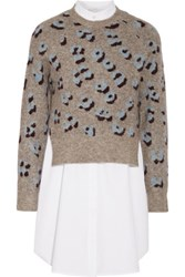 3.1 Phillip Lim Layered Printed Knitted And Cotton Sweater Gray