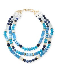 Akola Triple Strand Blue Beaded Necklace