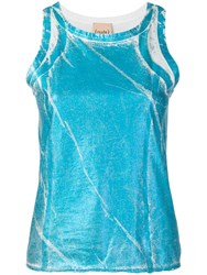 Nude Painted Effect Tank Top Blue
