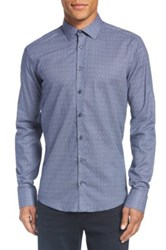 Sand Print Regular Fit Cotton Sport Shirt Blue