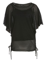 Izabel London Net Batwing Top Black