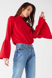 Urban Outfitters Uo Mock Neck Bell Sleeve Blouse Red