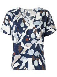 Egrey V Neck Printed Blouse Women Viscose 36 Blue