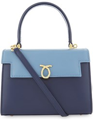 Launer Judi Tri Colour Leather Tote Baby Blue Flap