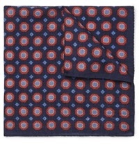Anderson And Sheppard Printed Wool Pocket Square Navy
