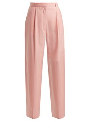 The Row Elin Tailored Wool Trousers Pink