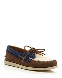 Sperry Authentic Original 2 Eye Wedge Boat Shoes Brown Navy