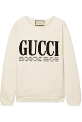 Gucci Oversized Printed Cotton Terry Sweatshirt Off White Gbp