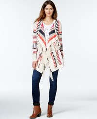 Kensie Fringed Aztec Print Cardigan Heather Latte Combo