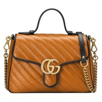 Gucci Gg Marmont Small Top Handle Bag Cognac Leather