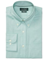 Polo Ralph Lauren Men's Pinpoint Oxford Classic Regular Fit Non Iron Solid Dress Shirt Green White