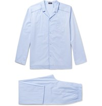 Hanro Contrast Tipped Cotton Jacquard Pyjama Set Light Blue