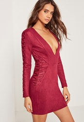 Missguided Faux Suede Long Sleeve Bodycon Dress Red Purple