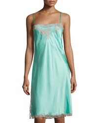 Josie Natori Lolita Lace Trimmed Silk Chemise Medium Blue Sea