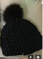 Mischa Lampert Standard Beanie With Extra Large Fox Fur Pompom Black