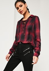 Missguided Red Lace Up Checked Shirt