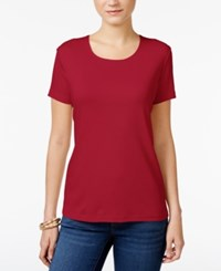 Karen Scott Scoop Neck T Shirt Only At Macy's New Red Amore