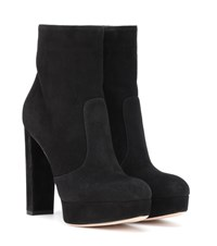 Gianvito Rossi Brook Plateau Suede Ankle Boots Black