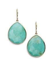 Ippolita Rock Candy Gelato Turquoise Rutilated Quartz And 18K Yellow Gold Large Doublet Teardrop Earrings