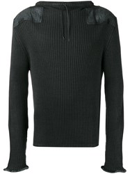 Maison Martin Margiela Leather Patch Ribbed Sweatshirt Grey