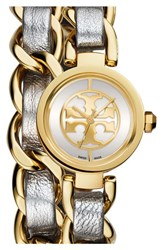 Women's Tory Burch 'Mini Reva' Double Wrap Chain Watch 20Mm