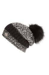 Moncler Women's Genuine Fox Fur Pom Melange Knit Beanie