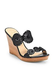 Jack Rogers Luccia Leather And Patent Leather Wedge Sandals Black