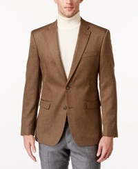 Tommy Hilfiger Men's Slim Fit Herringbone Sport Coat Brown