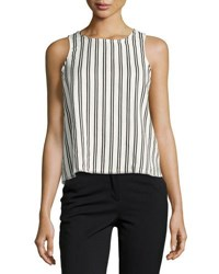 Lucca Couture Striped Top With Lace Up Back White Black