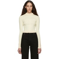 Eckhaus Latta Ssense Exclusive Off White And Pink Ombre Edge Lapped Long Sleeve Turtleneck