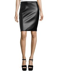 Max Studio Textured Faux Leather Pencil Skirt Black