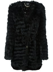 Just Cavalli V Neck Mid Length Coat Black