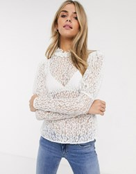 Ghost Lecie Lace Top With Puff Sleeve Cream