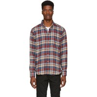 Naked And Famous Denim Red Beige Rustic Nep Flannel Easy Shirt