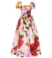 Dolce And Gabbana Embellished Silk Blend Gown Multicoloured