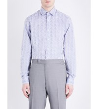 Duchamp Origami Tailored Fit Cotton Jacquard Shirt Silver