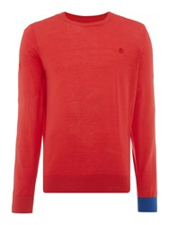 Perry Ellis College Crew Neck Contrast Cuff Jumper Red