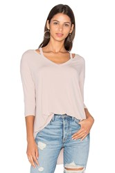 Michael Stars 3 4 Sleeve Slit Shoulder Top Blush