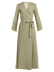 Rhode Resort Stella Silk Satin Wrap Dress Khaki