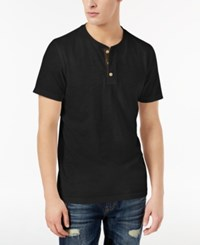 American Rag Men's Camo Henley Created For Macy's Deep Black
