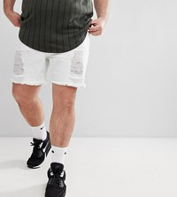 Sik Silk Siksilk Plus Super Skinny Denim Shorts In White With Distressing Exclusive To Asos