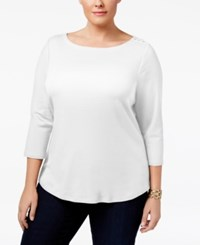 Charter Club Plus Size Cotton Boat Neck Top Only At Macy's Bright White