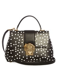 Dolce And Gabbana Lucia Polka Dot Print Leather Tote Black White