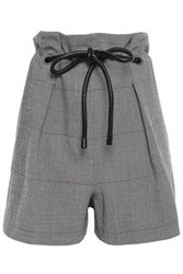 3.1 Phillip Lim Woman Belted Wool Blend Shorts Gray
