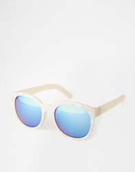 Monki Tatiana Mirror Sunglasses White