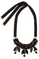 Marni Crystal And Resin Grosgrain Necklace Black