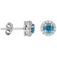 Jools By Jenny Brown Pave Surround Round Cubic Zirconia Stud Earrings Ocean Blue